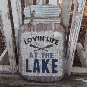 Lake wood and metal mason jar  sign